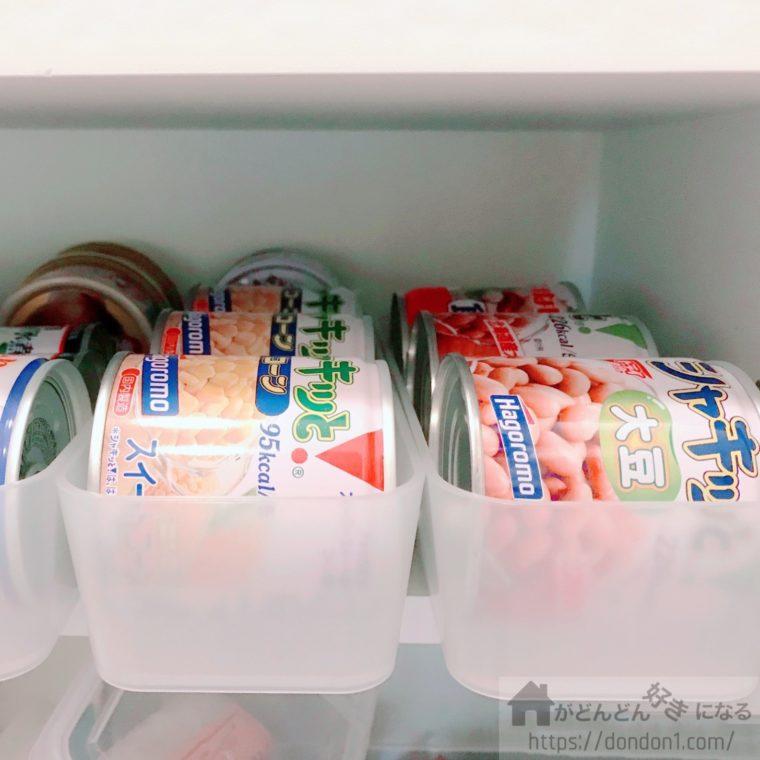 無印の整理ボックスに入れた缶詰