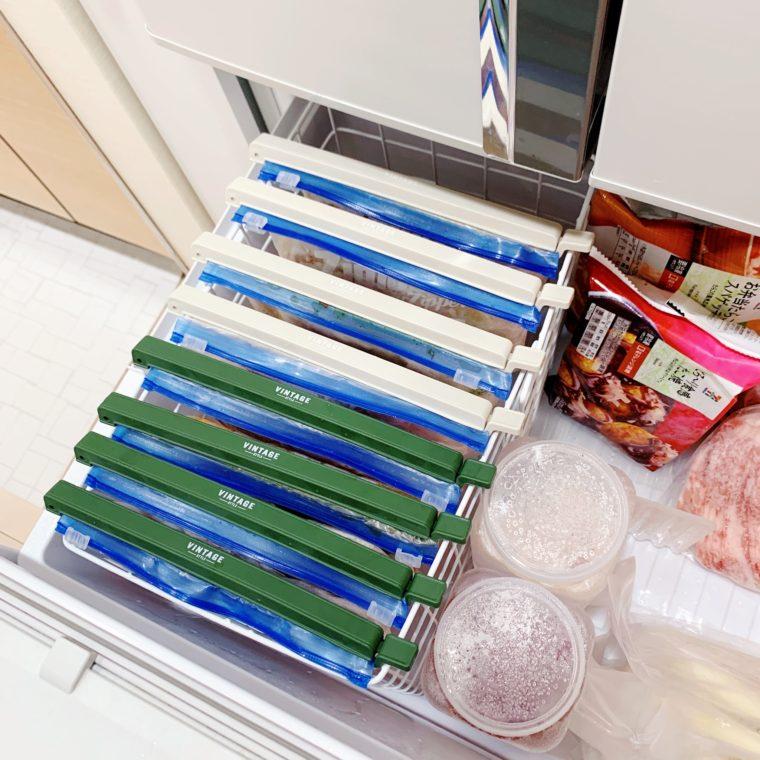 ダイソーの袋止めで冷凍庫収納