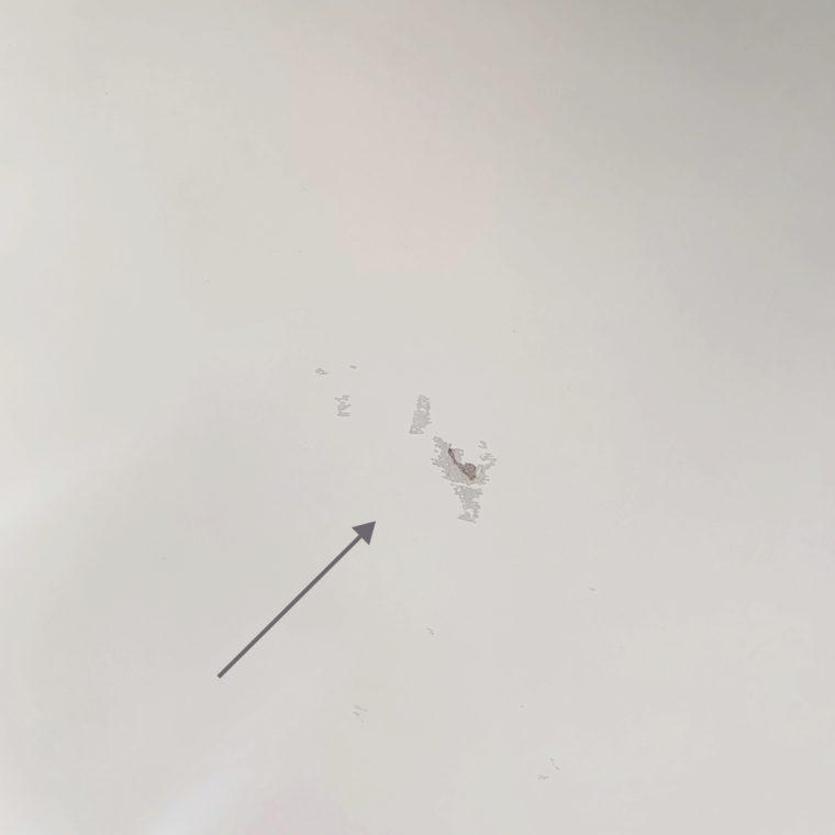 吸盤補助板で塗装がはげた跡