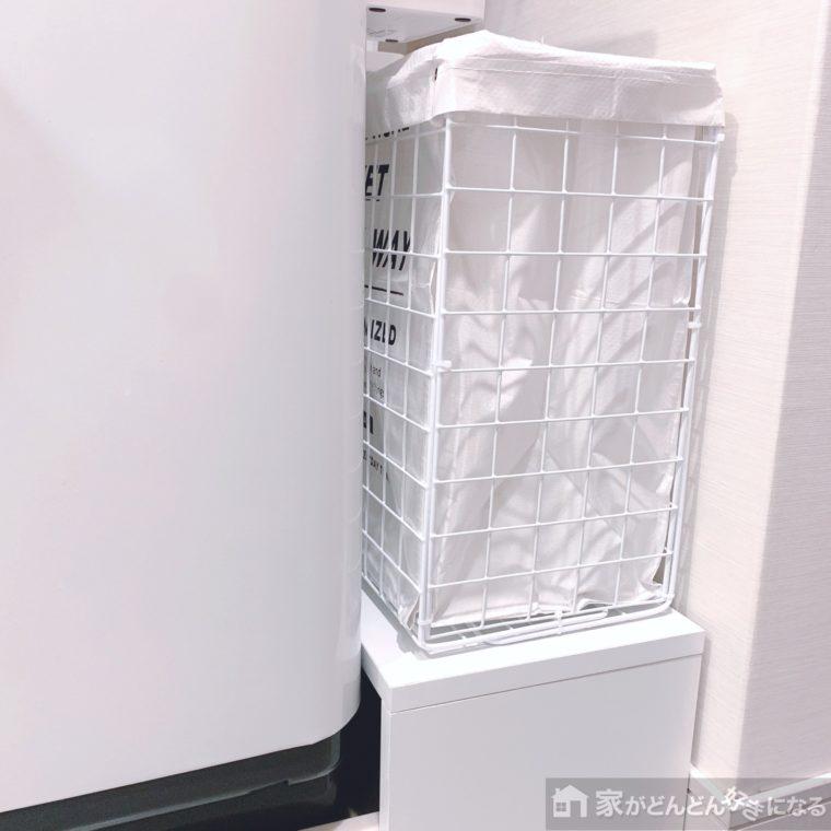洗濯機横のワイヤーボックス