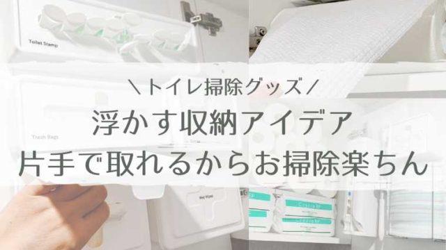 トイレ掃除用具を浮かす収納に!全て片手で取れるキャビネット収納アイデア
