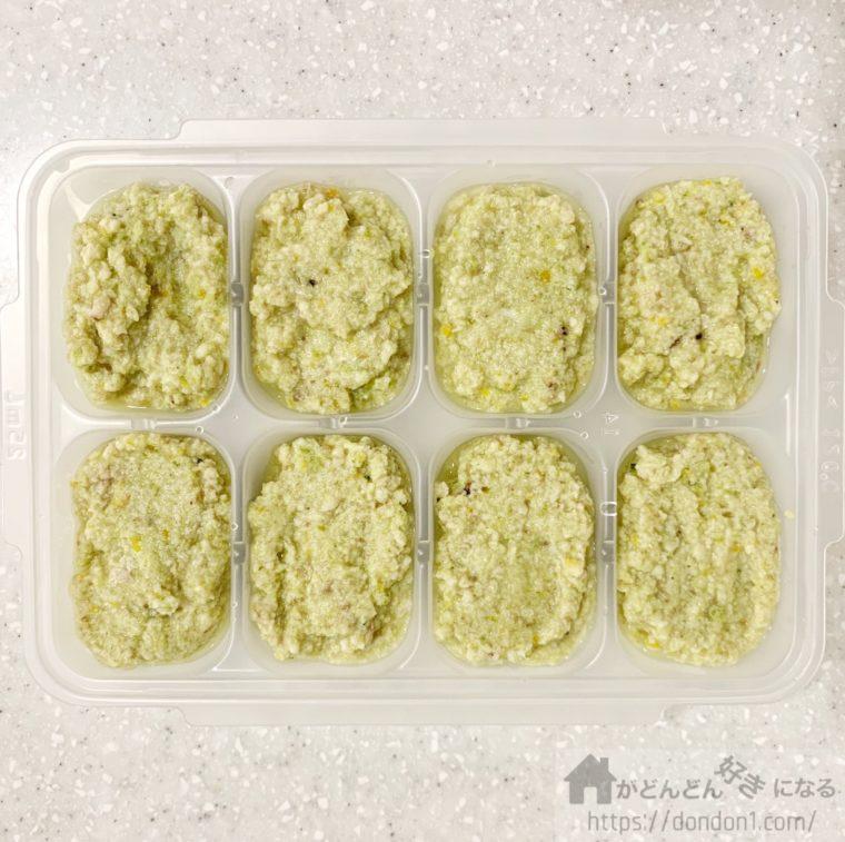 野菜入りささみペーストを小分け