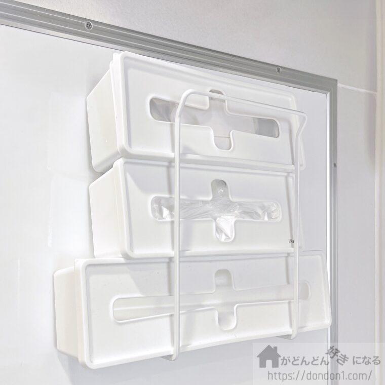 100均の容器に入れて壁掛け